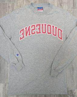 Duquesne University Champion Long Sleeve T-Shirt  Gray And R