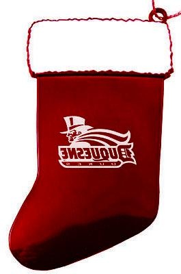 duquesne university chirstmas holiday stocking ornament red