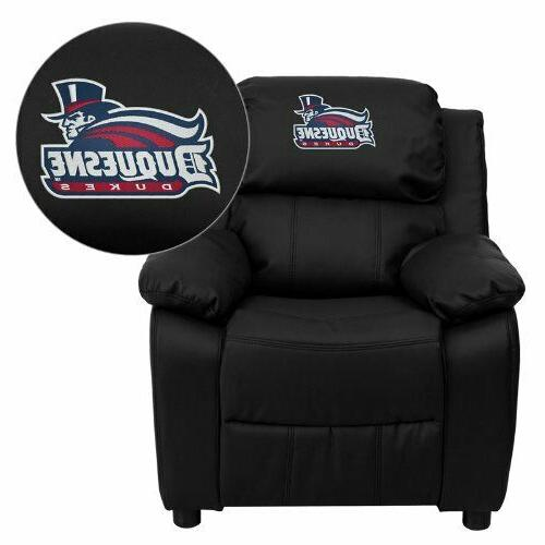 duquesne university dukes embroidered black leather kids